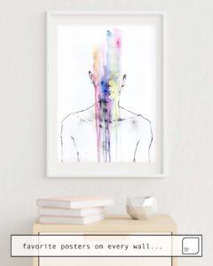 Das Bild zeigt ein Einrichtungsbeispiel mit dem Motiv ALL MY ART IS ON YOU BUT YOU STILL DON'T HEAR ME von Agnes Cecile als Wandbild