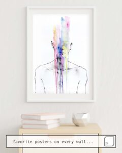 The photo shows an example of furnishing with the motif ALL MY ART IS ON YOU BUT YOU STILL DON'T HEAR ME by Agnes Cecile as mural