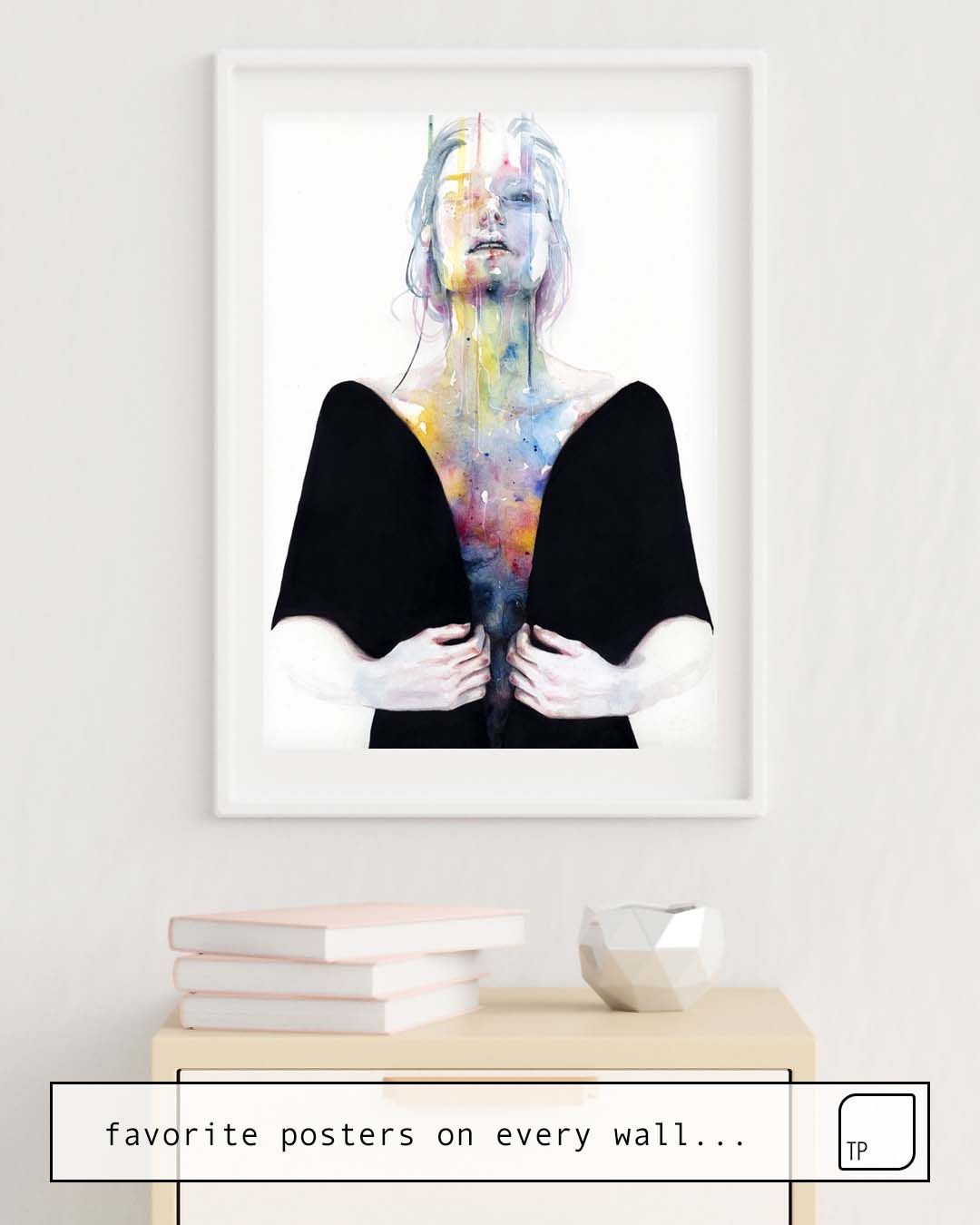 The photo shows an example of furnishing with the motif ANOTHER ONE (INSIDE THE SHELL) by Agnes Cecile as mural