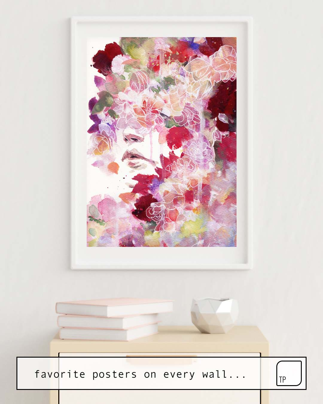 The photo shows an example of furnishing with the motif GARDEN IV by Agnes Cecile as mural