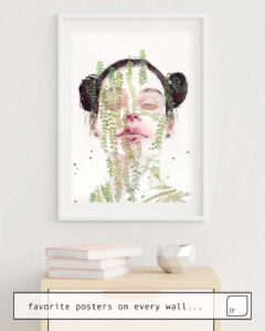 The photo shows an example of furnishing with the motif GARDEN IX by Agnes Cecile as mural