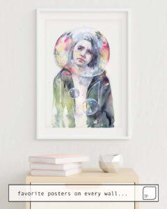 Das Bild zeigt ein Einrichtungsbeispiel mit dem Motiv GOODMORNING WORLD von Agnes Cecile als Wandbild