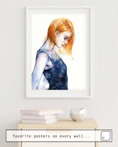 The photo shows an example of furnishing with the motif HELIOTROPIC GIRL by Agnes Cecile as mural