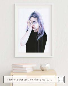 Das Bild zeigt ein Einrichtungsbeispiel mit dem Motiv I COULD BUT I CAN'T von Agnes Cecile als Wandbild