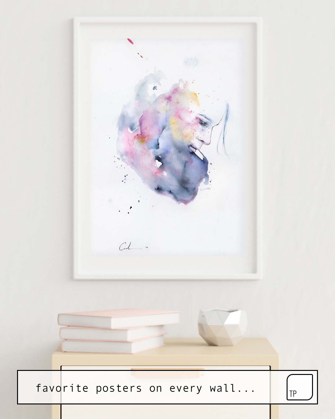 The photo shows an example of furnishing with the motif JANUARY by Agnes Cecile as mural