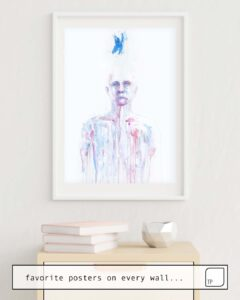 The photo shows an example of furnishing with the motif LAST BLUE BREATH by Agnes Cecile as mural