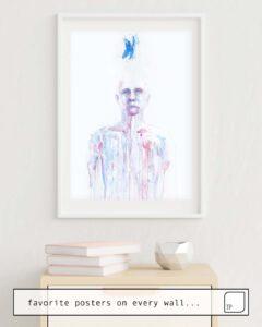 La photo montre un exemple d'ameublement avec le motif LAST BLUE BREATH par Agnes Cecile comme peinture murale