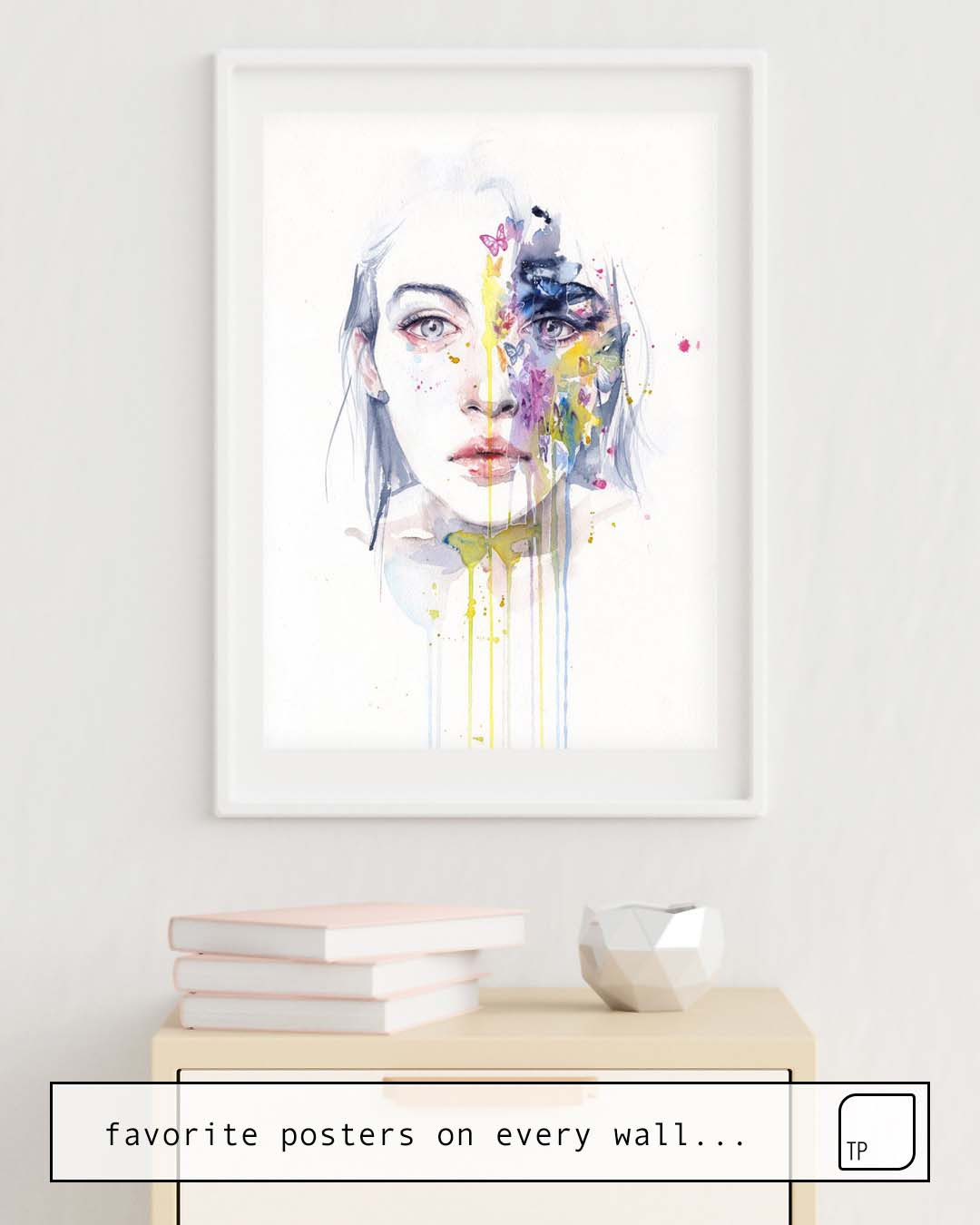 The photo shows an example of furnishing with the motif MISS BOW TIE by Agnes Cecile as mural
