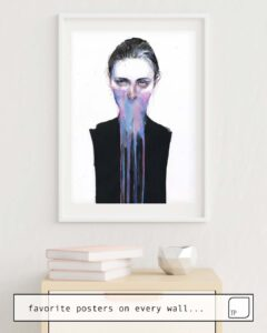 The photo shows an example of furnishing with the motif MY OPINION ABOUT YOU by Agnes Cecile as mural
