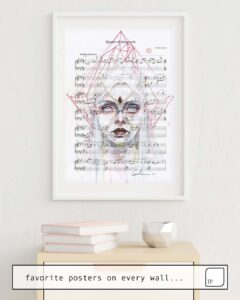 The photo shows an example of furnishing with the motif QUEEN OF DIAMONDS ON SHEET MUSIC by Agnes Cecile as mural