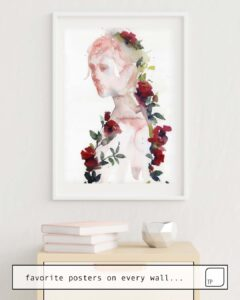 The photo shows an example of furnishing with the motif RED ROSES by Agnes Cecile as mural