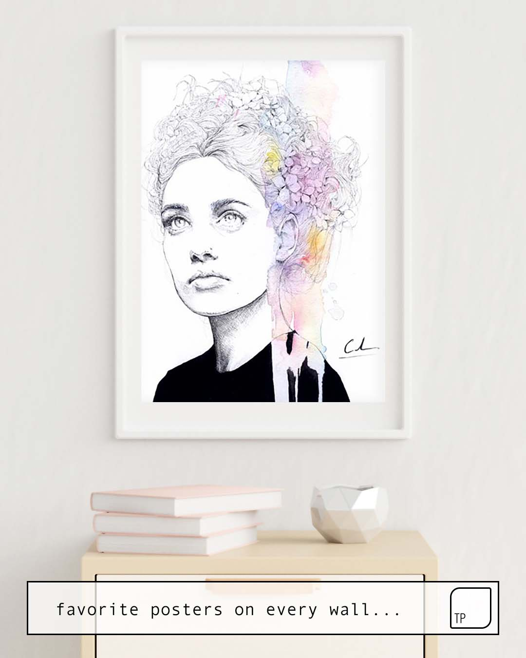 The photo shows an example of furnishing with the motif SOFT SPRINGTIME by Agnes Cecile as mural