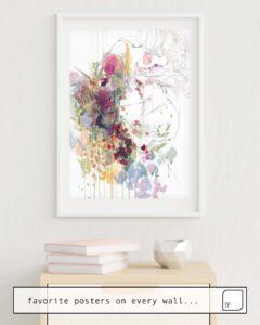 Das Bild zeigt ein Einrichtungsbeispiel mit dem Motiv TAKE CARE OF YOUR GARDEN von Agnes Cecile als Wandbild