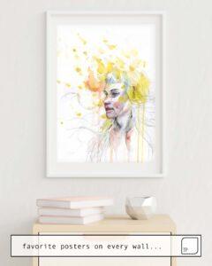Das Bild zeigt ein Einrichtungsbeispiel mit dem Motiv TAKE YOUR TIME von Agnes Cecile als Wandbild