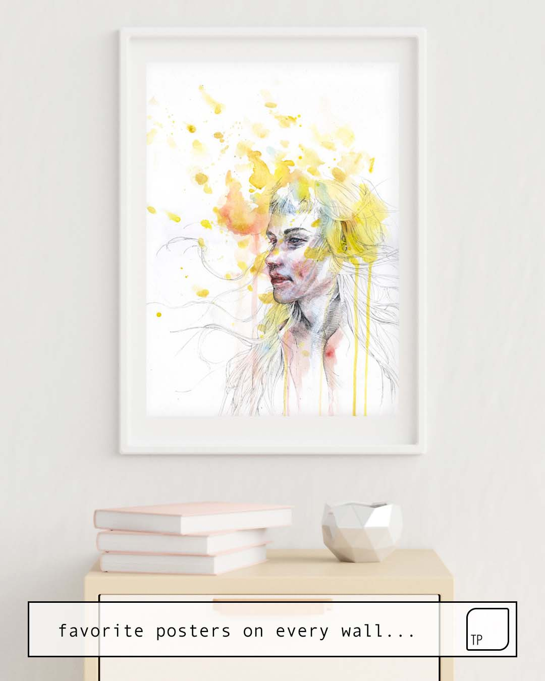 The photo shows an example of furnishing with the motif TAKE YOUR TIME by Agnes Cecile as mural
