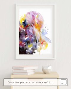 Das Bild zeigt ein Einrichtungsbeispiel mit dem Motiv THE LISTENER von Agnes Cecile als Wandbild