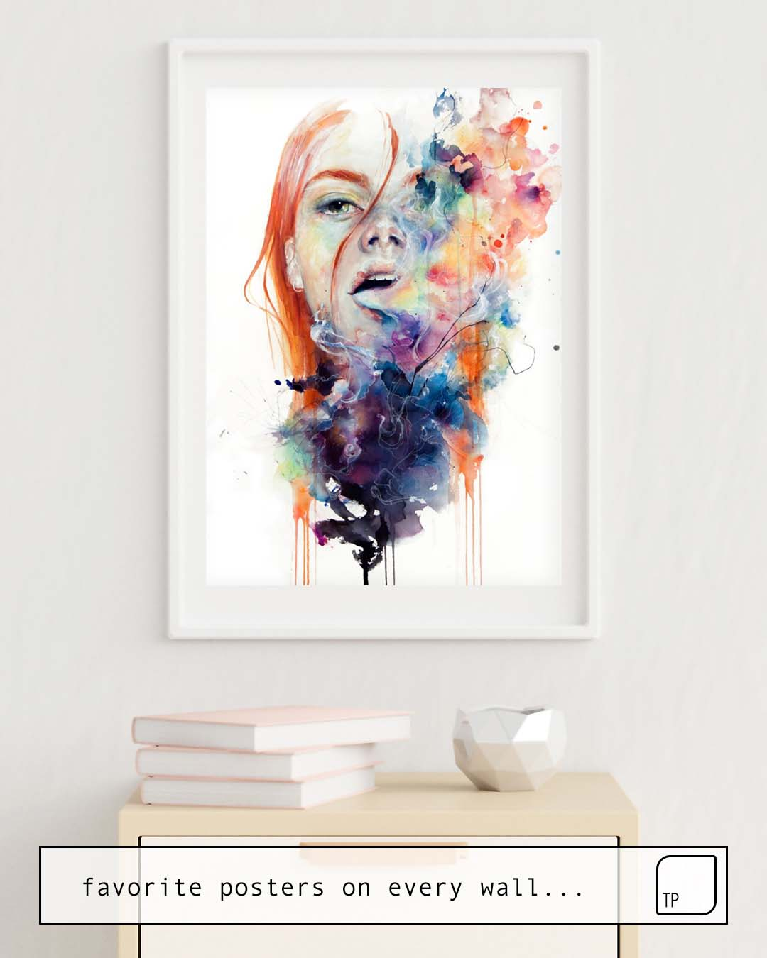 The photo shows an example of furnishing with the motif THIS THING CALLED ART IS REALLY DANGEROUS by Agnes Cecile as mural