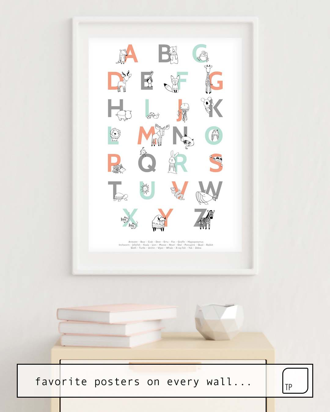 The photo shows an example of furnishing with the motif ANIMAL ALPHABET by Amy Hamilton as mural