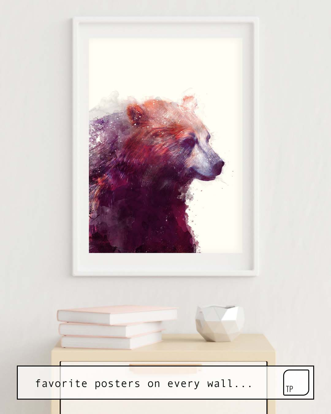 The photo shows an example of furnishing with the motif BEAR // CALM by Amy Hamilton as mural