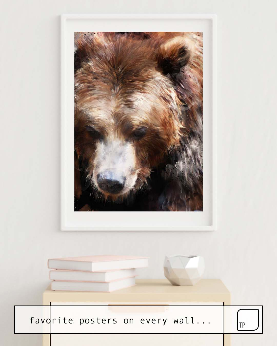 The photo shows an example of furnishing with the motif BEAR // GOLD by Amy Hamilton as mural