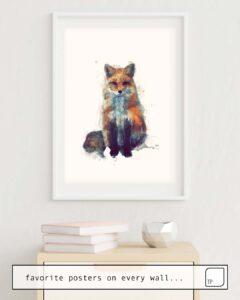 Das Bild zeigt ein Einrichtungsbeispiel mit dem Motiv FOX von Amy Hamilton als Wandbild