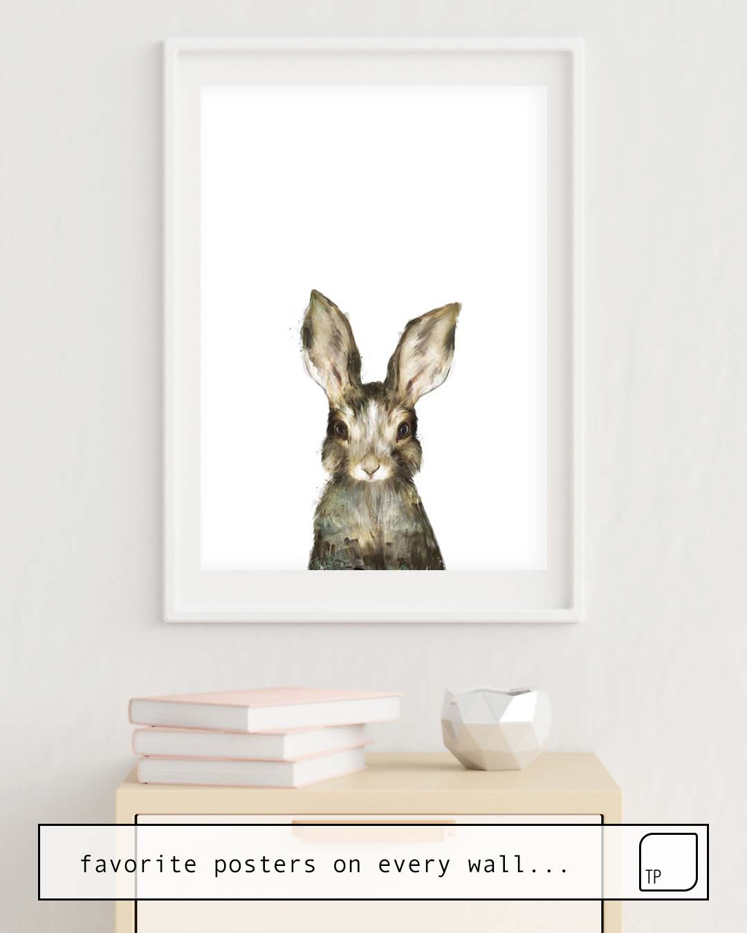 The photo shows an example of furnishing with the motif LITTLE RABBIT by Amy Hamilton as mural