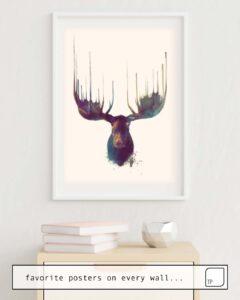 Das Bild zeigt ein Einrichtungsbeispiel mit dem Motiv MOOSE von Amy Hamilton als Wandbild