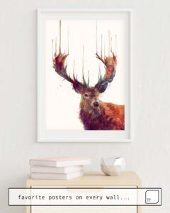 Das Bild zeigt ein Einrichtungsbeispiel mit dem Motiv RED DEER // STAG von Amy Hamilton als Wandbild