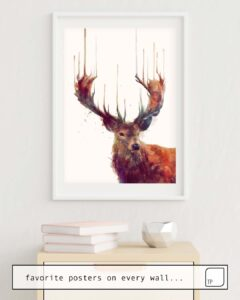 The photo shows an example of furnishing with the motif RED DEER // STAG by Amy Hamilton as mural