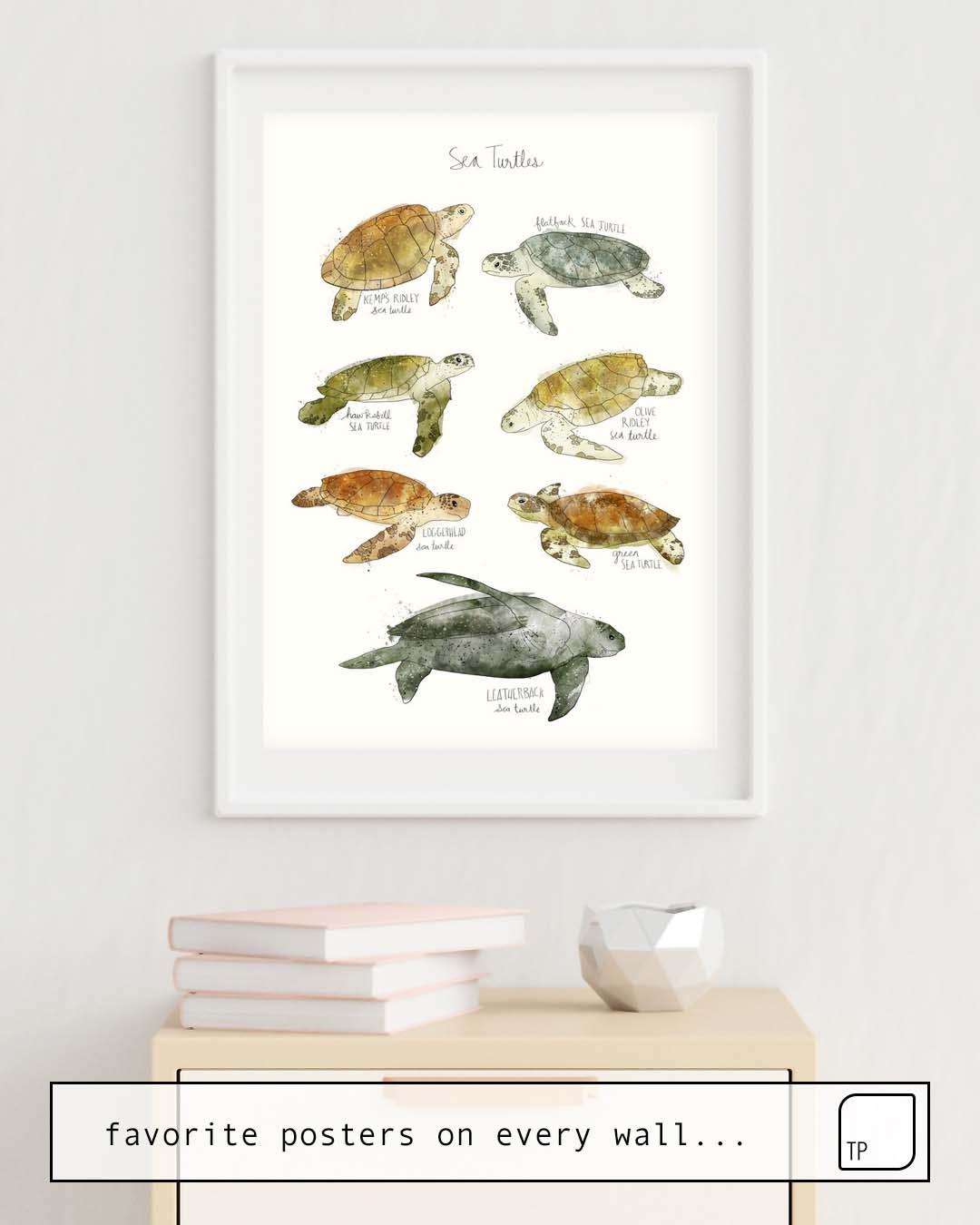 Das Bild zeigt ein Einrichtungsbeispiel mit dem Motiv SEA TURTLES von Amy Hamilton als Wandbild