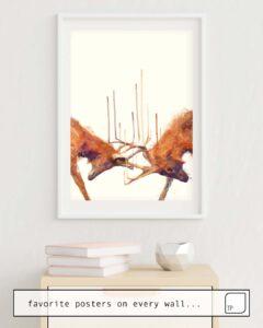La photo montre un exemple d'ameublement avec le motif STAGS // STRONG par Amy Hamilton comme peinture murale