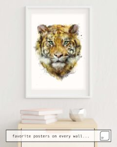 The photo shows an example of furnishing with the motif TIGER // STRENGTH by Amy Hamilton as mural