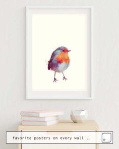 Das Bild zeigt ein Einrichtungsbeispiel mit dem Motiv WINTER ROBIN von Amy Hamilton als Wandbild