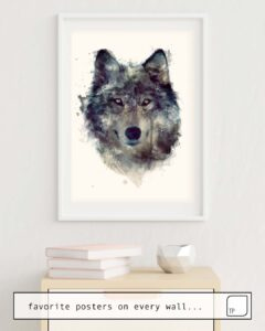 The photo shows an example of furnishing with the motif WOLF // PERSEVERE by Amy Hamilton as mural