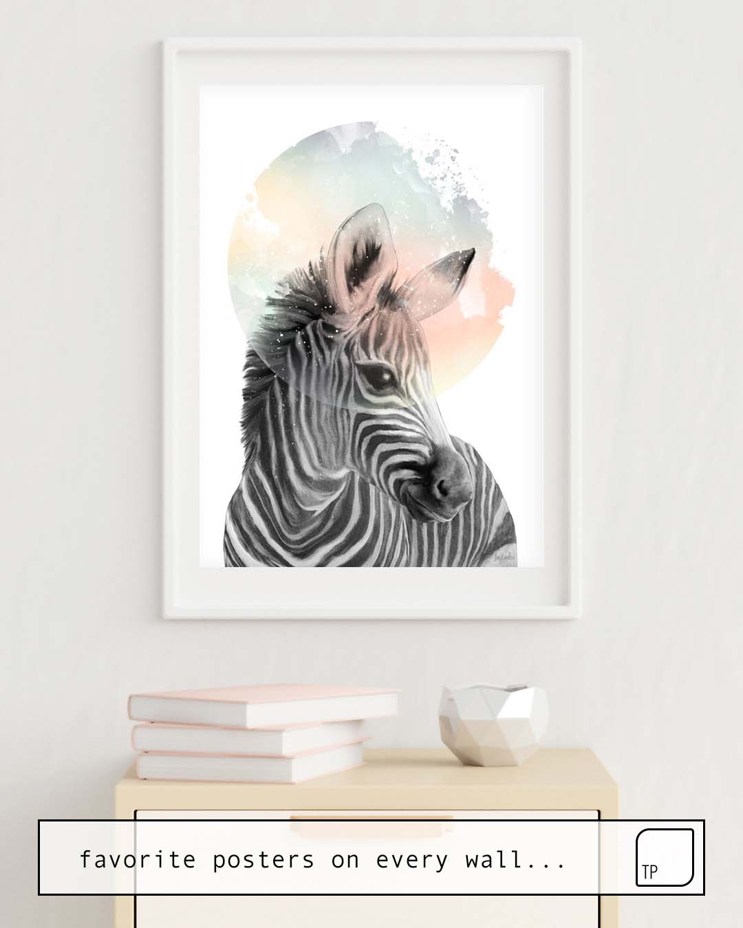 The photo shows an example of furnishing with the motif ZEBRA // DREAMING by Amy Hamilton as mural