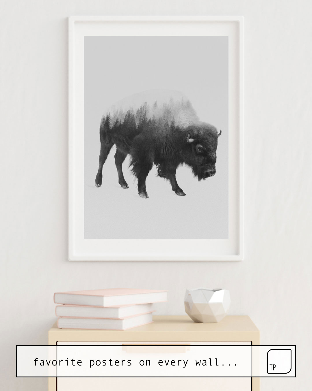 Poster | BISON (BLACK AND WHITE) by Andreas Lie