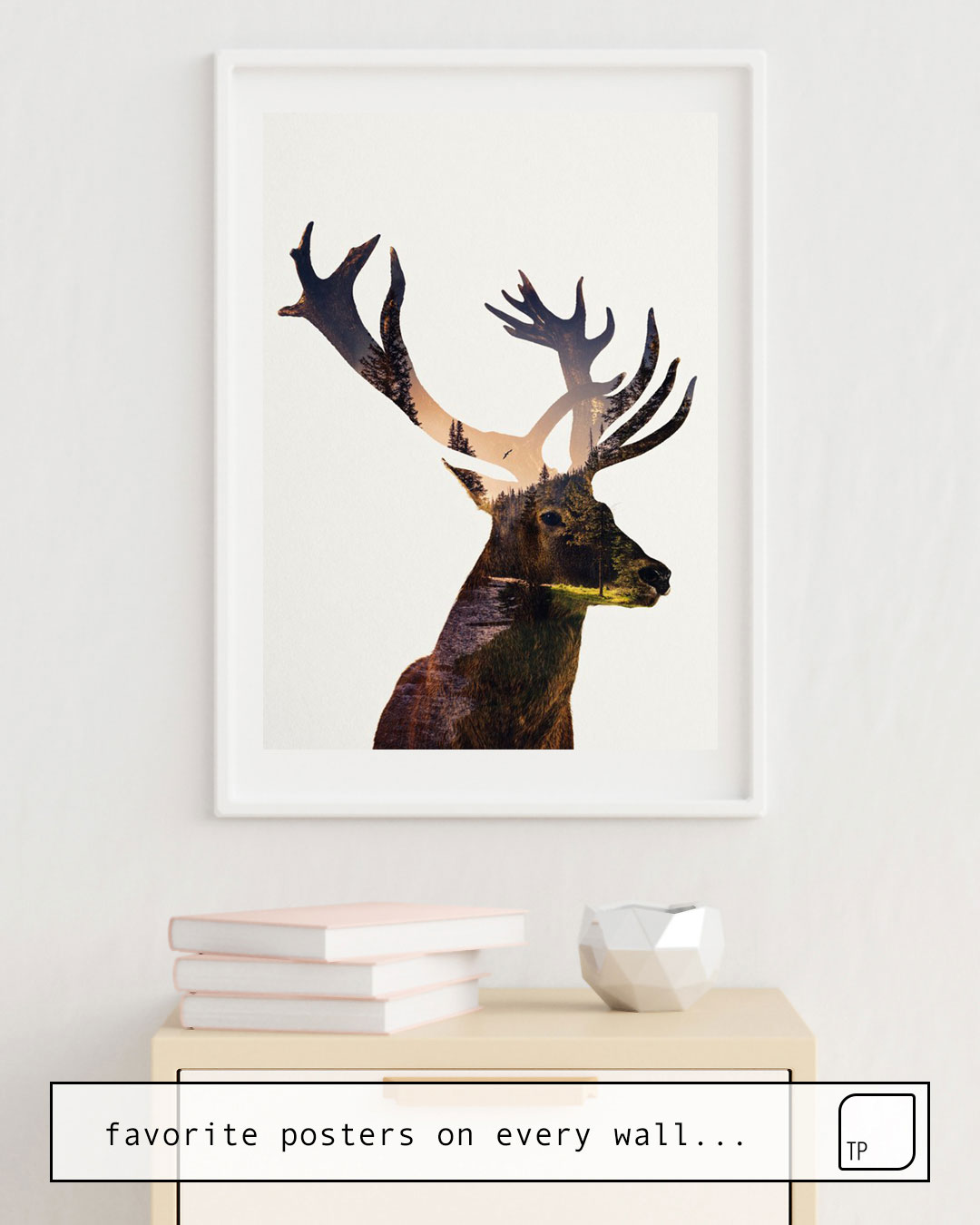 The photo shows an example of furnishing with the motif DEER by Andreas Lie as mural