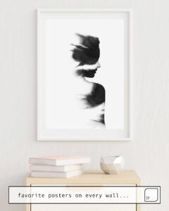 Das Bild zeigt ein Einrichtungsbeispiel mit dem Motiv FADE von Andreas Lie als Wandbild