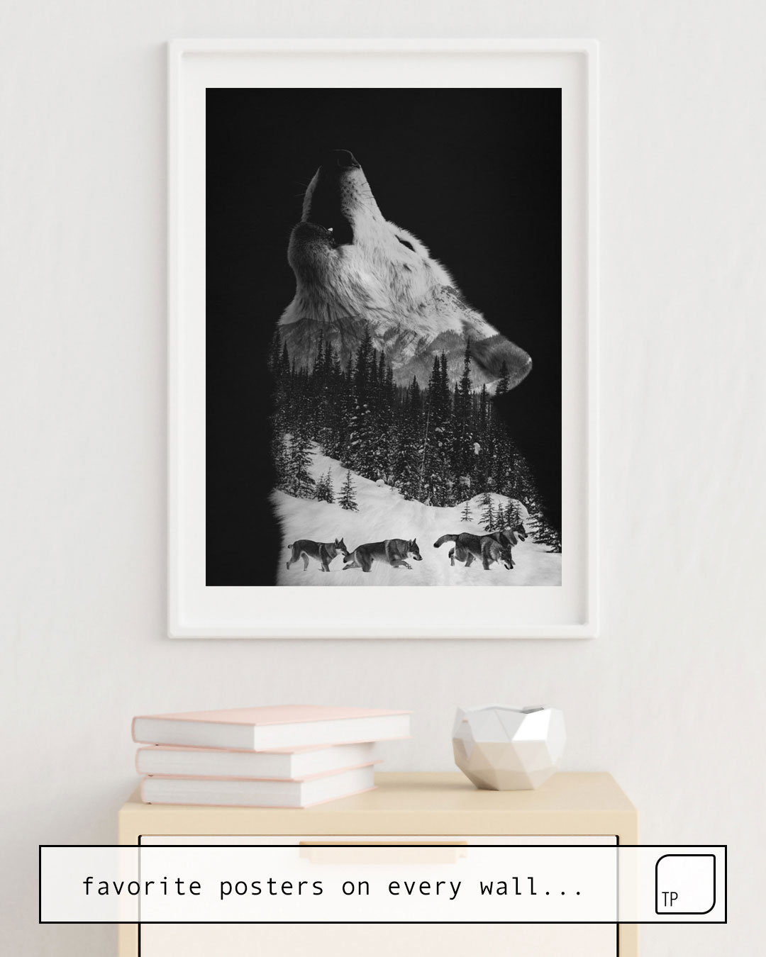 The photo shows an example of furnishing with the motif HOWLING WOLF by Andreas Lie as mural