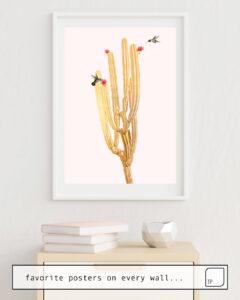 Das Bild zeigt ein Einrichtungsbeispiel mit dem Motiv HUMMING BIRDS von Andreas Lie als Wandbild