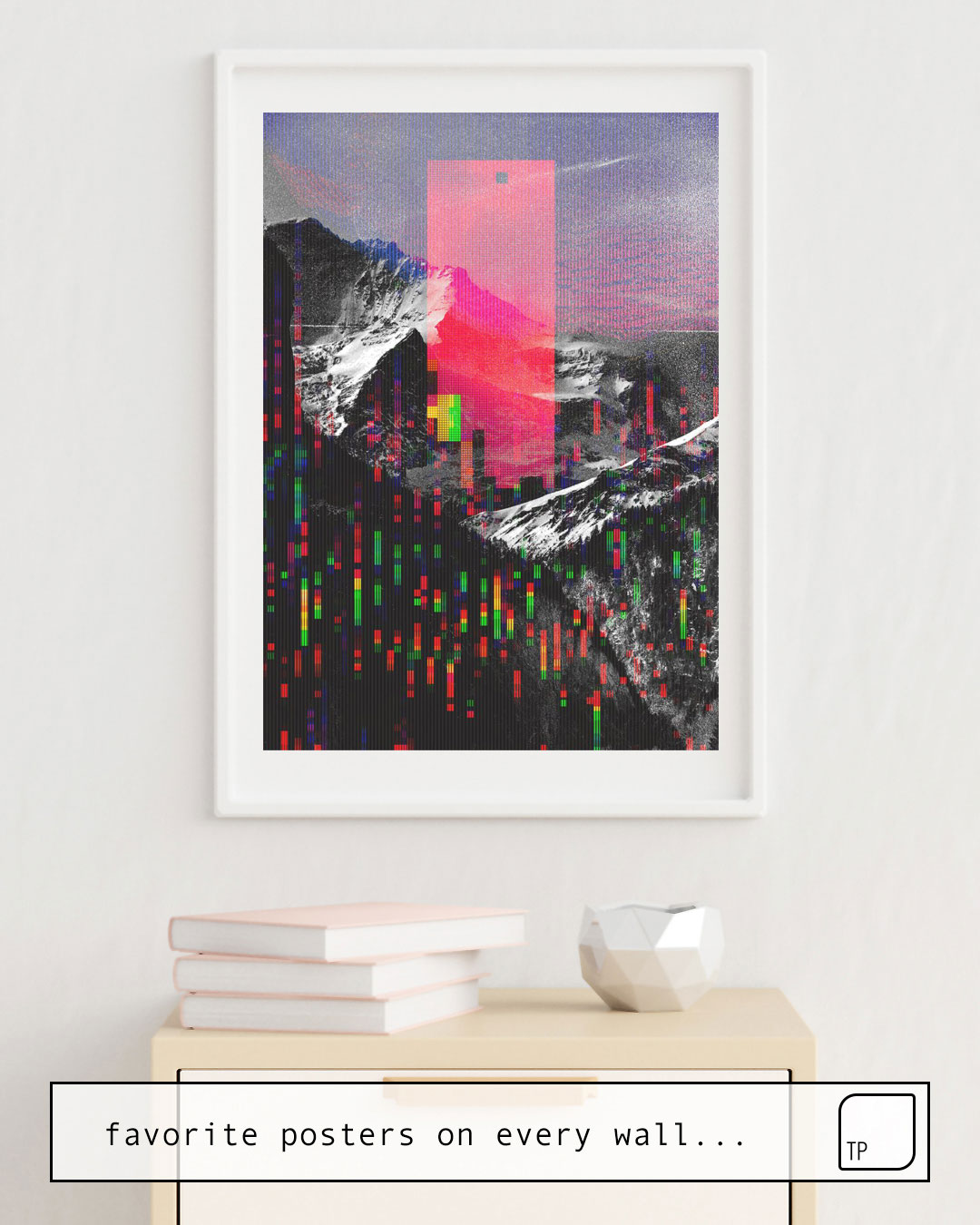 The photo shows an example of furnishing with the motif MOUNTAIN GLITCH II by Andreas Lie as mural