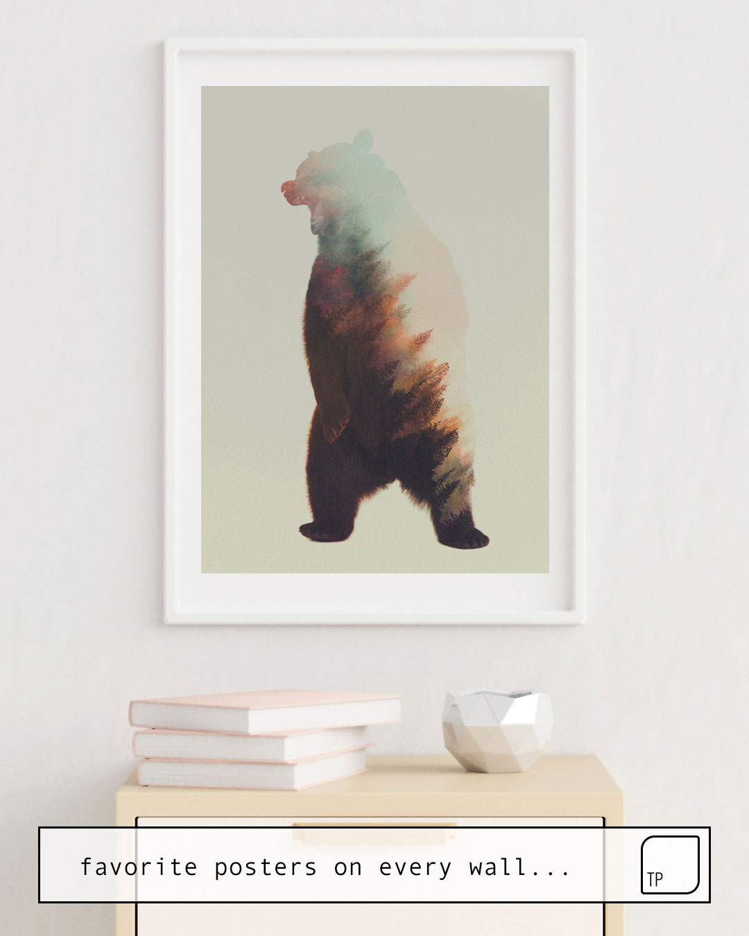 The photo shows an example of furnishing with the motif NORWEGIAN WOODS: BEAR by Andreas Lie as mural