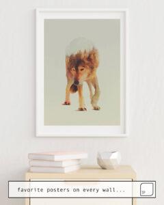 Das Bild zeigt ein Einrichtungsbeispiel mit dem Motiv NORWEGIAN WOODS: THE GREY WOLF von Andreas Lie als Wandbild