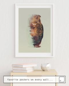 La foto muestra un ejemplo de decoración con el motivo NORWEGIAN WOODS: THE OWL por Andreas Lie como un mural