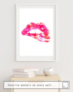 The photo shows an example of furnishing with the motif PINK LIPS by Andreas Lie as mural