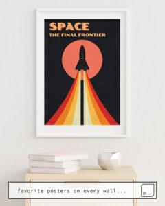 Das Bild zeigt ein Einrichtungsbeispiel mit dem Motiv SPACE - THE FINAL FRONTIER von Andreas Lie als Wandbild