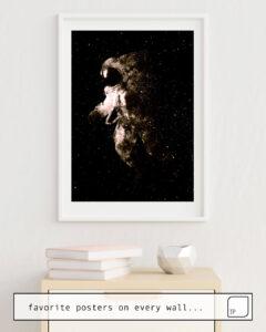 Das Bild zeigt ein Einrichtungsbeispiel mit dem Motiv SPACE WALK von Andreas Lie als Wandbild