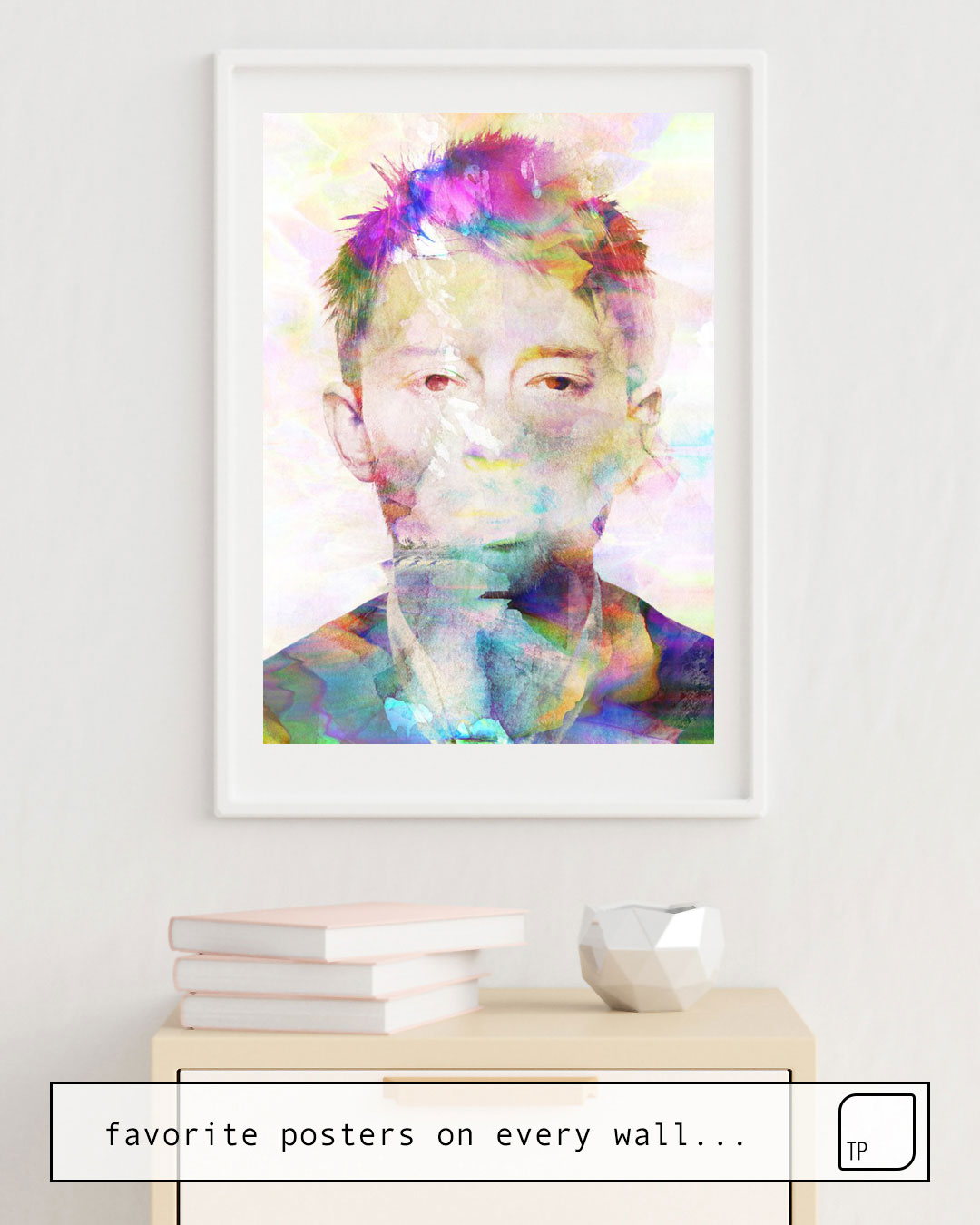 The photo shows an example of furnishing with the motif THOM YORKE by Andreas Lie as mural