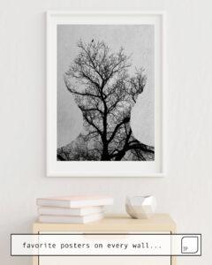 Das Bild zeigt ein Einrichtungsbeispiel mit dem Motiv TREE OF LIFE von Andreas Lie als Wandbild