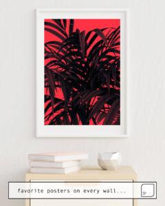 Das Bild zeigt ein Einrichtungsbeispiel mit dem Motiv TROPICAL LEAF von Andreas Lie als Wandbild